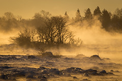 Niagara River Sunrise (josullivan.59) Tags: travel trees winter light wallpaper orange mist snow ontario canada detail ice nature water weather sunrise landscape dawn niagarafalls day january naturallight niagara clear artisitic nicelight 3exp canon6d tamron150600