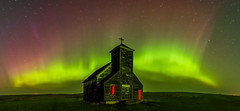 Little Church on the Prairie 1.0 (Jack Lefor) Tags: panorama lightpainting abandoned church night stars landscape nikon colorful fineart scenic dramatic panoramic aurora northdakota ghosttown nikond810