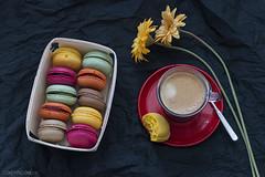 Buenos das!!! (sairacaz) Tags: flowers flores caf colors breakfast canon colores galicia coffe desayuno vigo macaroons macarons eos70d tamronaf90mmf28spdimacro