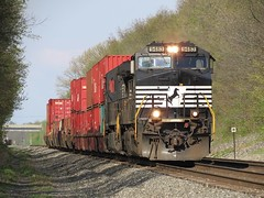 Short Stack to Chicago (codeeightythree) Tags: ns container norfolksouthern stacktrain norfolksouthernrailroad rollingprairie rollingprairieindiana wellcars mp457 norfolksouthernchicagoline