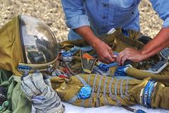 Space suit of Buran cosmonaut (PeterThoeny) Tags: california field raw fav50 space astronaut fresno soviet spaceshuttle hdr spacesuit cosmonaut buran garment rocketlaunch dairyaire photomatix 1xp californiacentralvalley sovietspaceshuttle nex6 sel55210