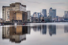 Reflections of old & new (Thank you for 4M+ views.) Tags: new old uk reflection water thames still skyscrapers calm docklands canarywharf lndon