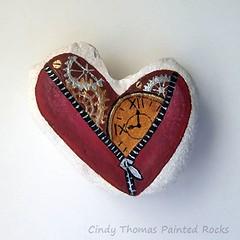 Mended Heart (Painted Rocks by Cindy Thomas) Tags: paintedrocks paintedstones hearts zipper cogs clock ticker cindythomas