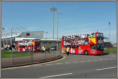 Cobblers Bus Parade (Jason 87030) Tags: roof sport football transport topless vehicle coaching players dennis sua champions cobblers trident opentop ntfs startforduponavon tridents alanknill chriswilder lv52hfh
