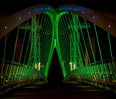 Into the abyss ....(explored) (Kelly's Eye Pics) Tags: bridge green evening darkness suspension steel alien walkway frame void salford quays girder abyss 1685mm pentaxk5ii