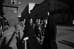 Street scenes (HKI DRFTR) Tags: lighting people urban blackandwhite contrast helsinki europe downtown image candid streetphotography documentary social nuns blacks tones decisivemoment