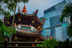Two Temples (ben_leash) Tags: city blue urban skyscraper temple singapore cloudy sony overcast chinesetemple a77 thianghockkeng