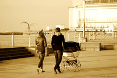 Belgian coast (Natali Antonovich) Tags: family sea portrait water monochrome walking seaside walk lifestyle northsea promenade oostende seashore seasideresort belgiancoast seaboard