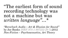 """The earliest form of sound recording technology was not a machine but was written language"" (disinformation) Tags: theearliestformofsoundrecordingtechnologywasnotamachinebutwaswrittenlanguage rorschachaudio audiororschach joebanks soundrecordingtechnology writtenlanguage artillusion ehgombrich artlanguagelocation sonicart audioart noamchomsky stevenpinker goldsmithscollege universityofwestminster ahrc soundstudies sonicstudies artscience acousticanthropology artshumanitiesresearchcouncil cern artisnotnecessarilysciencebutscienceisalwaysart allartworksarepsychologyexperiments psychoacoustics listening hearing illusion mishearing strangeattractorpress confusionoftongues artandthelimitsoflanguage courtauldinstitute courtauldgallery theactofcreation angliaruskinuniversity poetryfilm cambridgeassessment cambridgetriangle disinformation deepstructure evolutionarylinguistics lettherebelanguage jacquesderrida ofgrammatology rosettastone cuneiform hieroglyphics alphabet thewiremagazine wire400 wordandsound soundartist earliestform soundrecording recordingtechnology audiorecording evolutionoflanguage evolutionarybiology aristotle poetics semiotics marshallmcluhan linguistics mitpress visiblelanguage artlanguage timesliterarysupplement londonreviewofbooks thehousethathealsthesoul ccaglasgow nickthurston informationasmaterial"