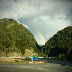 Rainbow over Franz Josef Glacier