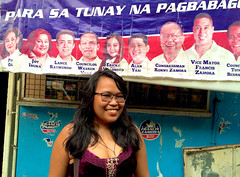 Election Poster (mikeeliza) Tags: portrait woman brown black hot sexy girl beautiful smile hair poster asian glasses golden big election shiny long pretty erotic dress purple skin philippines young lips full neighborhood exotic figure manila local pinay filipina brunette oriental cleavage eliza ethnic indonesian busty malay ancestry thirdworld negrita mikeeliza