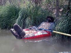 Chad in the Tube Tracker (EllenJo) Tags: arizona river pentax tube raft verderiver riparian sundayafternoon june5 clarkdale 2016 ellenjo summerinarizona ellenjoroberts tuzigootbridge tuzirap pentaxqs1 cruisingdowntheriveronasundayafternoon