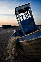 Lazy Rise (Kate Alexandra Day) Tags: wood old uk blue sea england sky sun cold net beach sunrise dawn coast boat kent seaside ship south frosty pebbles sail dungeness wreck slanted lasy