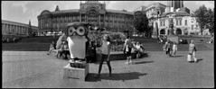 Brum Owl (*monz*) Tags: street sculpture woman film water fountain sunglasses statue birmingham fuji pavement iso400 sunny 150 owl widelux townhall neopan rodinal brum 20c monz 11min wideluxf7neopan400rodinal150