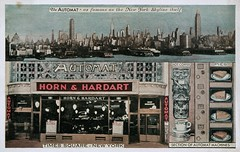 Horn & Hardart Automat Cafeteria, New York, World's Fair 1939 (SwellMap) Tags: architecture vintage advertising design pc 60s fifties postcard suburbia style kitsch retro nostalgia chrome americana 50s roadside googie populuxe sixties babyboomer consumer coldwar midcentury spaceage atomicage