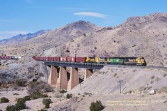 .(SEE & HEAR)---ATSF 5434 Bridge 1, Abo Canyon, NM. 4-14-1997 (jackdk) Tags: railroad trestle bridge newmexico santafe train desert railway bn locomotive bnsf abo burlingtonnorthern sd45 emd atsf bridge1 standardcab abocanyon emdsd45 seeandhear