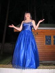 Evening gown (Paula Satijn) Tags: blue girl lady happy shiny dress joy silk skirt tgirl gown satin gurl ballgown