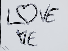 Love Me (Steve Taylor (Photography)) Tags: newzealand white streetart black art digital pen grey graffiti border felt monotone nz marker southisland sharpie outline loveme monocolor monocolour