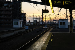Sunset Bound (H.H. Mahal Alysheba) Tags: leica railroad light sunset station japan landscape cityscape snapshot dlux dluxtyp109