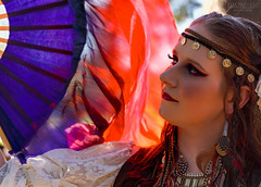 Fan Dance (Cardwell Photo LLC | Thanks for 2 Million Views!) Tags: park blue red portrait people brown girl face fashion closeup forest evening fan necklace dance model colorful texas afternoon katy unitedstates meetup cosplay houston bellydancer shade ppl hippie backlit kelsey boho gypsy bohemian headband bearcreek harriscounty greaterhouston