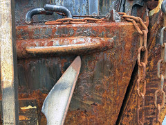 Years at sea create aches and groans ( Gillfoto) Tags: alaska boat rust chain bow anchor hook landingcraft
