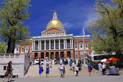 Massachusetts State House (oxfordblues84) Tags: city blue trees people urban building tree boston architecture stairs gold massachusetts capital columns bluesky tourist tourists capitol dome bostoncommon beaconhill statehouse capitolbuilding golddome bostonmassachusetts massachusettsstatehouse charlesbulfinch