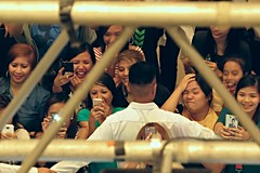 celebrity craze (DOLCEVITALUX) Tags: people celebrity mall singing crowd cellphone indoor security mobilephone celebrities canonpowershotsx50hs