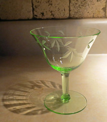 Do You Know Me? (Enchanticals) Tags: etched green glass vintage dessert stem pretty stemware oneglass greenglass depressionglass stemmedglass dessertglass enchanticals enchanticalsetsy sorbetglass