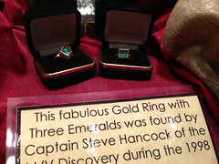 Two emerald and gold rings (Emily A Frost) Tags: museum treasure florida shipwreck salvage atocha verobeach treasurecoast melfisher spanishgold treasurefleet platefleet