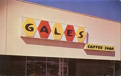 "Gales Coffee Shop, ""A Sign of Plexiglas is a Sign of Distinction"" (SwellMap) Tags: road signs monument public sign vintage advertising design 60s highway gate arch fifties message postcard suburbia entrance style kitsch retro billboard route nostalgia chrome freeway gateway billboards americana 50s lettering welcome roadside populuxe sixties babyboomer consumer coldwar midcentury spaceage atomicage archwaypc"