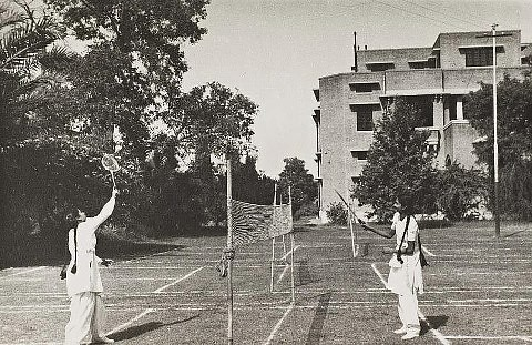 Girls playing Badminton, Kinnaird College for Women, Lahore 1950