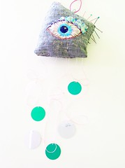 Embroidered eye, protecting eye wall hanging (Vallistic) Tags: eye evileye allseeingeye embroideryart embroideredeye embroideredwallart