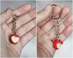A heart in an apple. (AiClay) Tags: apple fruit miniature keychain heart shaped bite aiclay