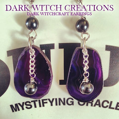 DARK WITCHCRAFT EARRINGS (Dark Witch Creations) Tags: blackandwhite sun moon magick purple handmade witch antique ooak no yes magic violet indigo lavender royal jewelry fortune jewellery divine lilac mauve hippie pearl amethyst boho gypsy witchcraft bohemian witchy esoteric lavendar freshwater ouija pearlnecklace divination planchette darkarts witchboard