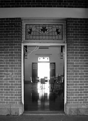 Warragul Railway Station (phunnyfotos) Tags: door light bw reflection window canon mono doors platform australia monotone victoria railwaystation trainstation vic 1915 canonpowershots2is canonpowershot gippsland leadlight warragul phunnyfotos warragulrailwaystation