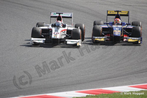 Felipe Nasr and Stefano Coletti in Saturday's GP2 race at the 2013 Spanish Grand Prix