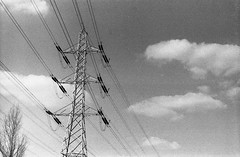 Pylon 1 (Casperrobo1) Tags: park urban film yellow architecture clouds 35mm vintage leicester grain structures sunny pylon filter e m42 k2 hp5 zenit 1995 expired russian ilford helios 442 zenite
