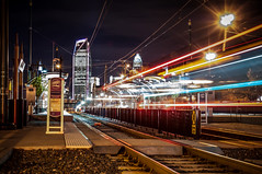 Charlotte City Skyline night scene with light rail system lynx train (DigiDreamGrafix.com) Tags: city skyline modern buildings lights nc cosmopolitan neon charlotte dusk northcarolina business national convention metropolis dnc charlottenc democraticconvention democratic banks offices 2012 illuminate finance democraticnationalconvention dazzling 21stcentury boomtown charlottecity lightrailsystem lynxtrain skylinenightscene