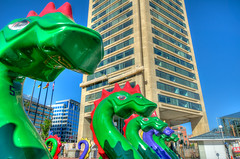 """The """"Dragon Boats"""" of Baltimore's Inner Harbor - HDR (m01229) Tags: green harbor purple maryland baltimore inner dragonboat lochnessmonster dragonboats lochness innerharbor paddleboats d7000"""