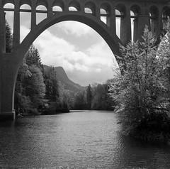 La Dent sous l'arche (Tonton Dave) Tags: monochrome river landscape switzerland day suisse tmax rivière orbe paysage yashica viaduc vaud