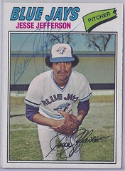 1977 O-Pee-Chee - Jesse Jefferson #184 (b: 3 Mar 1949 - d: 8 Sep 2011 at age 62) - (Jays 24th pick in the 1976 expansion draft) - Autographed Baseball Card (WhiteRockPier) Tags: baseball card signed autographed torontobluejays opc opeechee
