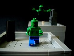 Pursuit (Big Green Sea Monster) Tags: rooftop jump lego billy curt marvel lizards pursuit connors