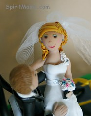 Bride and Groom Riding Lawn Mower Wedding Cake Topper (SpiritMama) Tags: wedding cute cake fun groom bride funny humorous landscaping weddingcake riding lawnmower caketopper custom topper personalized mowing ridinglawnmower spiritmama