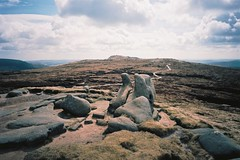(Aage Drake) Tags: mountain film 35mm walking landscape view path peakdistrict sculptural rambling gritstone kinderscout ricohgr1s kodakektar100