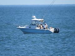 Boat, Canon SX50 (zaxouzo) Tags: ocean june coneyisland coast boat fishing wake zoom foam tele 2013 canonsx50