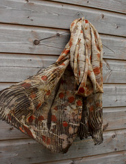 (red2white) Tags: uk colour wool scarf print botanical leaf big natural handmade rustic scottish wrap merino tribal gift printed