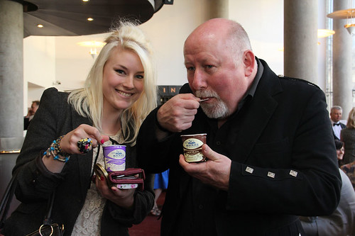 Guests enjoying Mackie's ice cream before the European premiere of Breathe In at Festival Theatre