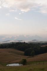 Misty Mountain Hop (tenaciousNancy) Tags: sunset sky mist tree field grass fog clouds fence evening pond pasture va galax