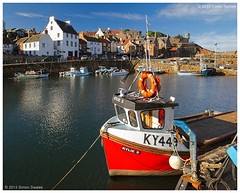 Kylie S @ Crail (SwaloPhoto) Tags: bw zeiss boats coast scotland fishing harbour fife availablelight villages coastal northsea circular buoy ze firthofforth crail 105mm polariser bythesea kylies ksm eastneuk canoneos5dmkii distagont2821 distagon2128ze ky449 forleefilterholder