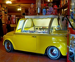 Ice cream car !;-)) (anton) Tags: sardegna summer car yellow bar automobile colore estate fiat giallo 500 gelateria vacanze fiat500 gelati cinquecento alghero caldo curiosit carrozzeria refrigerio icecreamcar